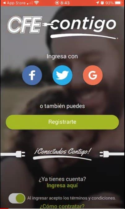 pantalla de registro de cfe contigo