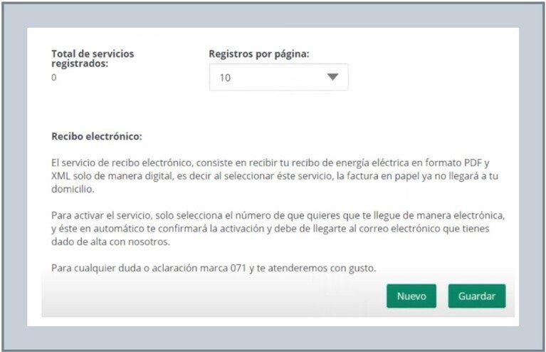 Registro Nuevo usuario CFE.