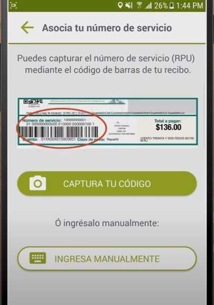 Pantalla para asociar número de servicio a CFE Contigo.